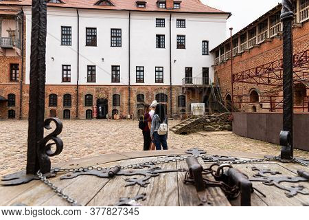 Mir, Belarus - June 13 2020: The Well-kept Courtyard Of The Ancient European Castle Mir.