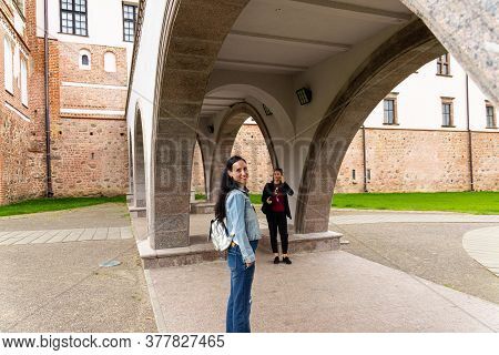 Mir, Belarus - June 13 2020: View Of The Ancient European Castle Mir. Panorama Of The Castle.