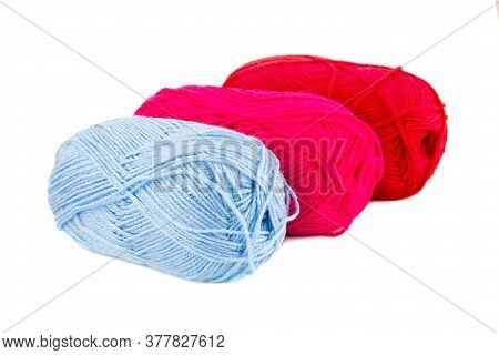Three Knitting Yarn Clews Isolated On White Background.