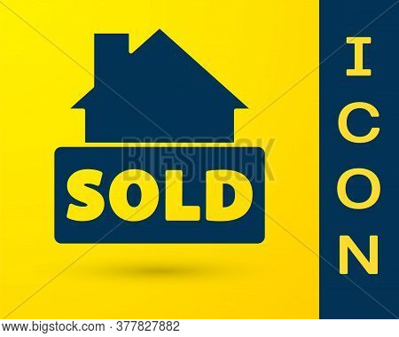 Blue Hanging Sign With Text Sold Icon Isolated On Yellow Background. Sold Sticker. Sold Signboard. V