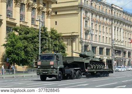 Moscow, Russia - June 24, 2020:russian Truck Tractor Kamaz-65225 With A Soviet T-34-85 Tank On A Sem