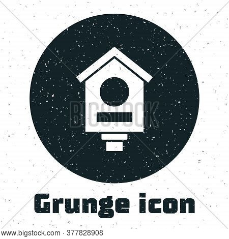 Grunge Bird House Icon Isolated On White Background. Nesting Box Birdhouse, Homemade Building For Bi