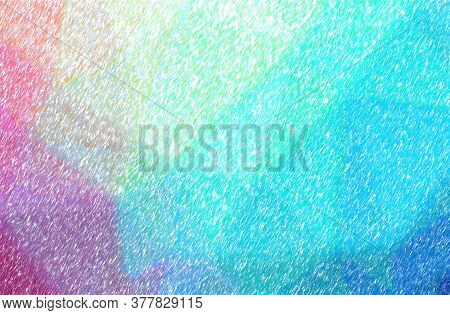 Abstract Illustration Of Blue, Green And Purple Low Coverage Color Pencil Background.