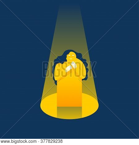 Shy Confused Woman Standing In Scene And Illuminated With Scenic Spotlight - Conceptual Illustration
