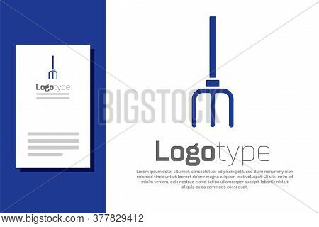 Blue Garden Pitchfork Icon Isolated On White Background. Garden Fork Sign. Tool For Horticulture, Ag