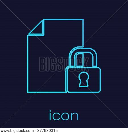 Turquoise Line Document And Lock Icon Isolated On Blue Background. File Format And Padlock. Security