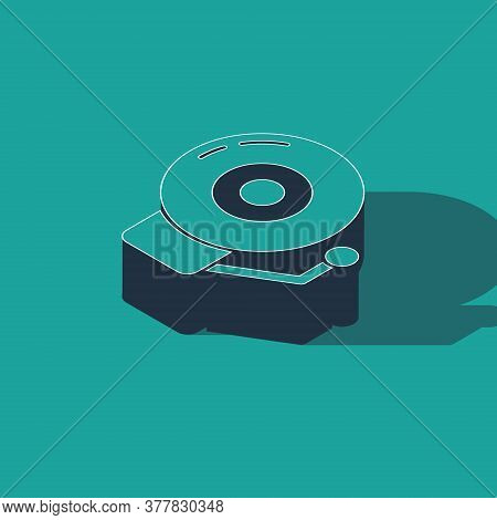 Isometric Ringing Alarm Bell Icon Isolated On Green Background. Alarm Symbol, Service Bell, Handbell