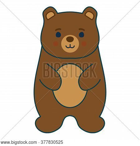 Cute Baby Bear, Kids Vector Drawing, Flat Wild Animal Illustration. Minimalistic 2d Character, Eps10