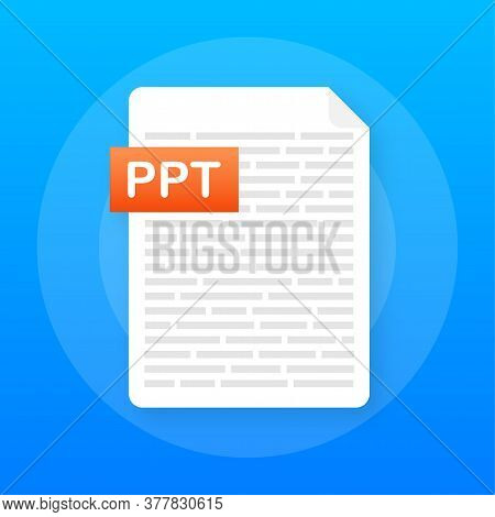Download Ppt Button. Downloading Document Concept. File With Ppt Label And Down Arrow Sign. Vector I