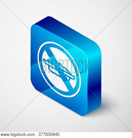 Isometric Food No Diet Icon Isolated On Grey Background. Healing Hunger. Blue Square Button. Vector