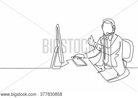 One Continuous Line Drawing Of Young Happy Male Call Center Worker Giving Thumbs Up Gesture While Ha