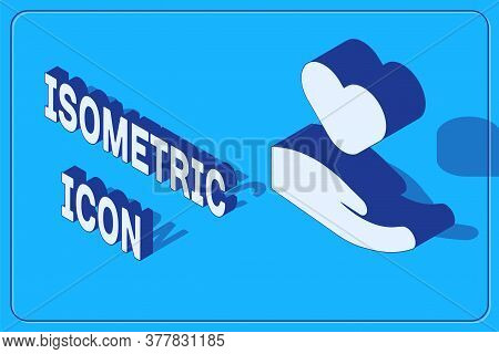 Isometric Heart In Hand Icon Isolated On Blue Background. Hand Giving Love Symbol. Valentines Day Sy