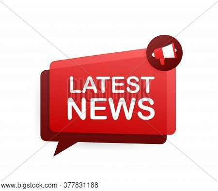 Megaphone Label With Latest News. Megaphone Banner. Web Design. Vector Stock Illustration