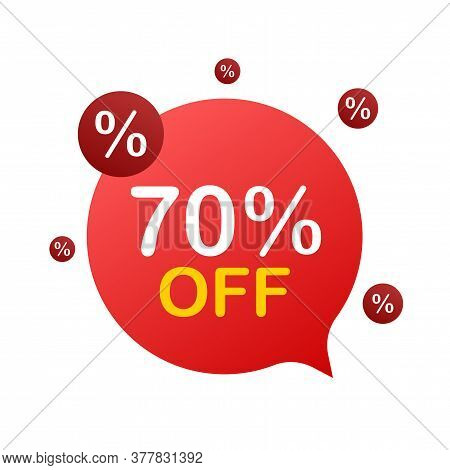70 Percent Off Sale Discount Banner. Discount Offer Price Tag. 70 Percent Discount Promotion Flat Ic