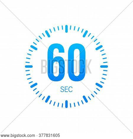 The 60 Second, Timer, Stopwatch Vector Icon. Stopwatch Icon In Flat Style. Vector Stock Illustration