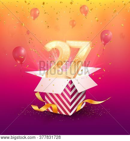 27 Th Years Anniversary Vector Design Element. Isolated Twenty Seven Years Jubilee With Gift Box, Ba