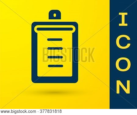 Blue Clipboard With Checklist Icon Isolated On Yellow Background. Control List Symbol. Survey Poll O