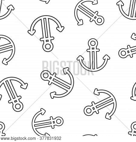 Boat Anchor Icon In Flat Style. Vessel Hook Vector Illustration On White Isolated Background. Ship E