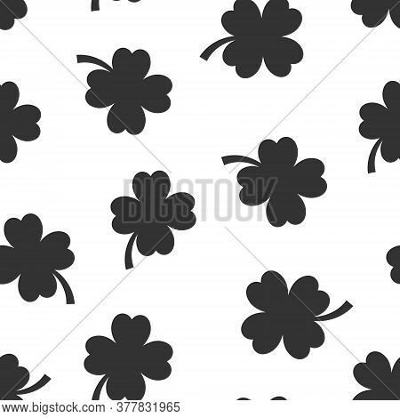 Four Leaf Clover Icon In Flat Style. St Patricks Day Vector Illustration On White Isolated Backgroun