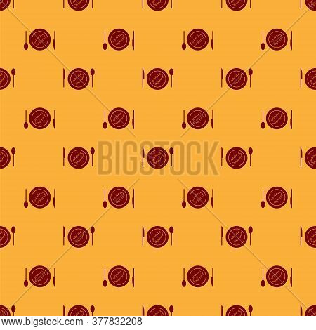 Red Served Cucumber On A Plate Icon Isolated Seamless Pattern On Brown Background. Marine Food. Vect