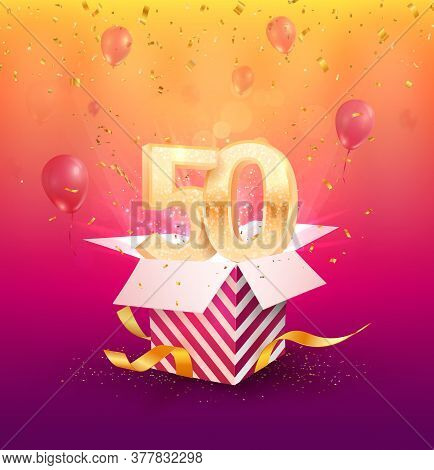 50th Years Anniversary Vector Design Element. Isolated Fifty Years Jubilee With Gift Box, Balloons A