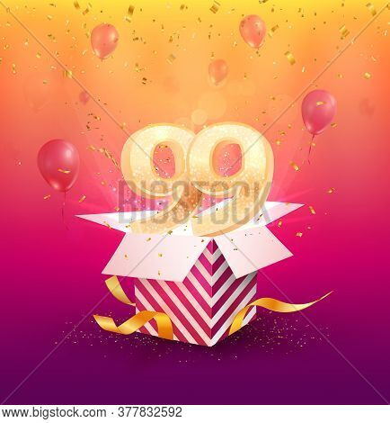 99th Years Anniversary Vector Design Element. Isolated Ninety-nine Years Jubilee With Gift Box, Ball