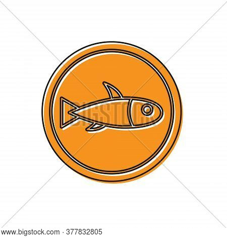 Orange Served Fish On A Plate Icon Isolated On White Background. Vector.