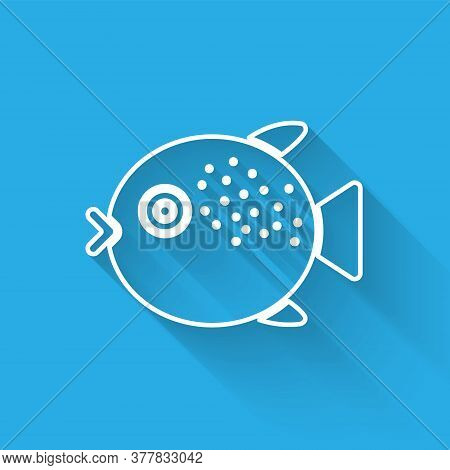 White Line Puffer Fish Icon Isolated With Long Shadow. Fugu Fish Japanese Puffer Fish. Vector.
