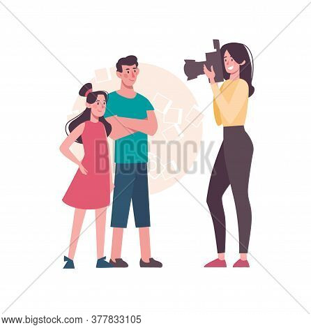 A Woman Photographs Children On A Camera With A Flash, Sister And Brother Pose For A Photo. Cartoon