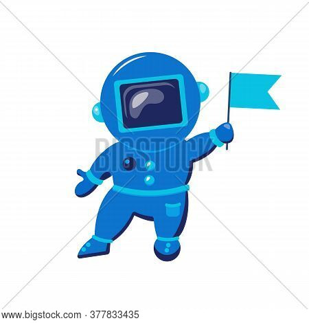 Cute Funny Cosmonaut. Astronaut Exploring Outer Space.