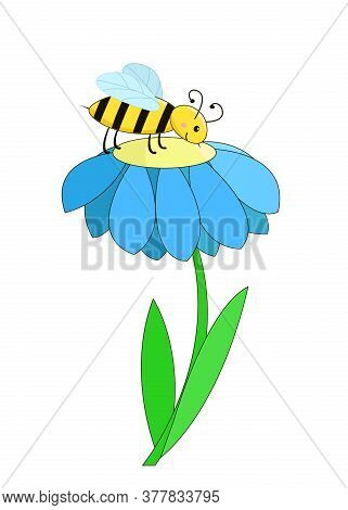 A Bee Sits On A Flower And Collects Nectar.vector Cartoon Children Illustration.