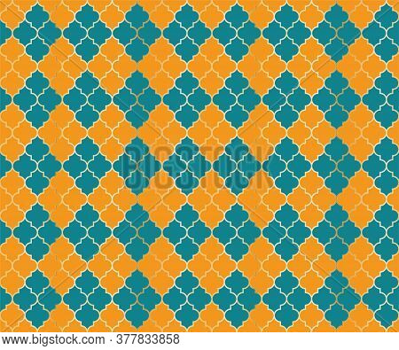 Moroccan Mosque Vector Seamless Pattern. Argyle Rhombus Muslim Fabric Background. Traditional Mosque