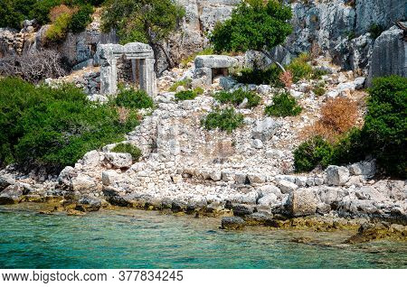 Ruins Of The Ancient Sunken Lycian Underwater City Of Dolichiste On The Island Of Kekova. Attraction