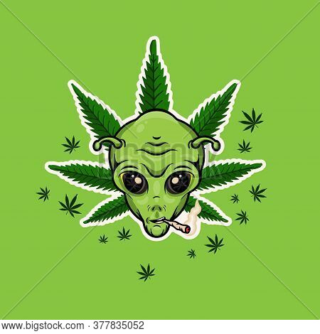 Alien With Jamb. Alien Smoking Weed Poster. Vector Illustration.