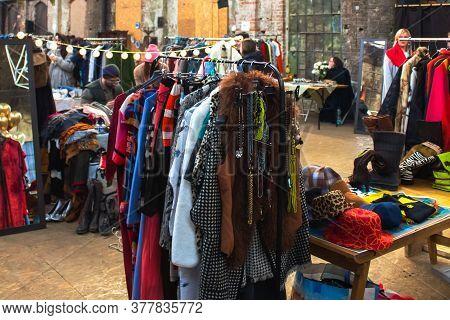 Lviv, Ukraine - February 16, 2020 : Garage Sale In Lem Station, Tlum And Cram. Colorful Hipster Vint