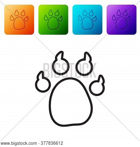 Black Line Paw Print Icon Isolated On White Background. Dog Or Cat Paw Print. Animal Track. Set Icon