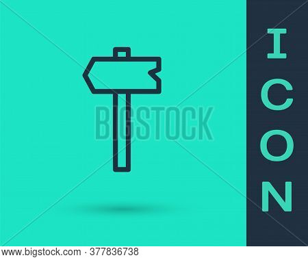 Black Line Road Traffic Sign. Signpost Icon Isolated On Green Background. Pointer Symbol. Isolated S