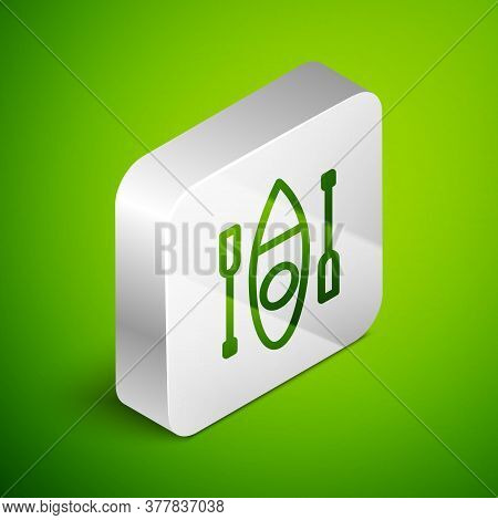 Isometric Line Kayak And Paddle Icon Isolated On Green Background. Kayak And Canoe For Fishing And T
