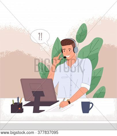 Male Operator Call Center Or Hotline. Man In Headphones Sits At A Computer And Helps A Client Online