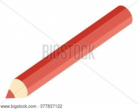 School Stationery Supply, Red Pencil Or Drawing Tool Isolated Object Vector. Draw Or Write, Art Less