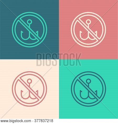 Pop Art Line No Fishing Icon Isolated On Color Background. Prohibition Sign. Vector