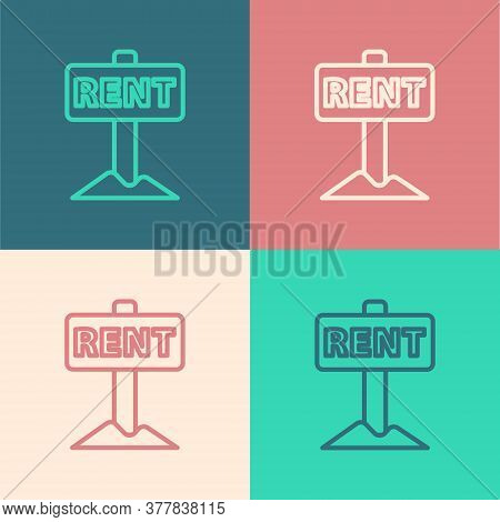 Pop Art Line Hanging Sign With Text Rent Icon Isolated On Color Background. Signboard With Text For