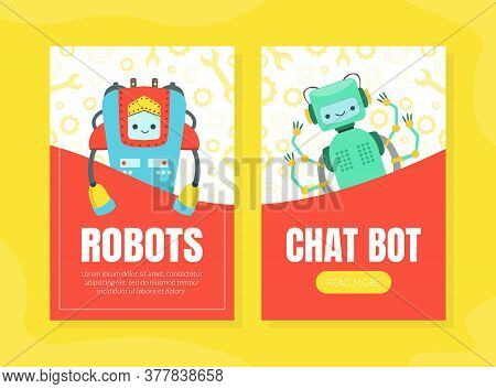 Chat Bot, Robots Landing Page Templates Set, Artificial Intelligence, Robotic Technology, Automation