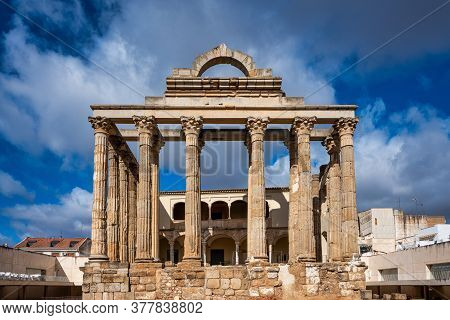 Merida, Spain - November 05, 2019: The Roman Temple Of Diana In Merida, Province Of Badajoz, Extrema