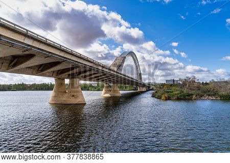 Merida, Spain - November 05, 2019: The Lusitania Bridge Built In 1991 Over The Guadiana River In Mer