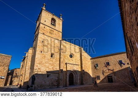 Caceres, Spain - November 08, 2019: Cathedral Of Santa Maria De La Asuncion In Caceres, Extremadura,