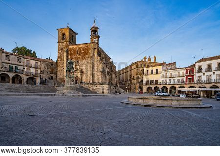 Trujillo, Spain - November 11, 2019: San Martin Church At The Plaza Mayor, Main Square Of Trujillo.