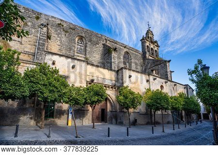 Jerez De La Frontera, Spain - Nov 15, 2019: The Bell Tower Of The Church Of San Marcos. Jerez De La
