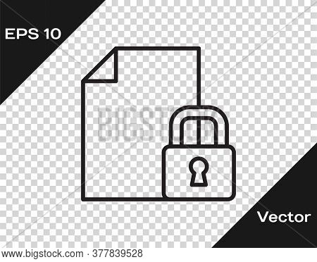 Black Line Document And Lock Icon Isolated On Transparent Background. File Format And Padlock. Secur