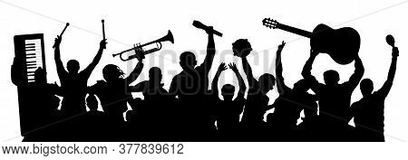 Group Of Cheerful Musicians. Crowd Of People Raised Their Hands Up. People Are Holding Musical Instr